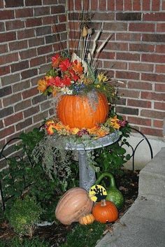Fall Bird Bath · Fall Decorating OutsideOutside ...