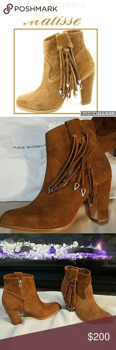 """🆕Kate Bosworth Suede Fringe Bootie An inspired collaboration between eternal It Girl Kate Bosworth and Matisse bring together vintage attitude with the perfect touch of modern detailing. This all suede stacked heel bootie fuses boho chic and Western influences, with arrowhead hardware that lightly sways from knots of fringe. - 3.5"""" heel, 4.75"""" boot shaft  - Side zip closure - Suede upper and covered heel - Leather sole - Made in Brazil - New in box, never worn - Dust bag included Matisse…"""