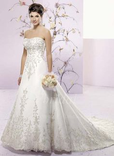 Wedding Dresses - $237.99 - A-Line/Princess Sweetheart Chapel Train Organza Satin Wedding Dress With Embroidered Sequins (00205000994)