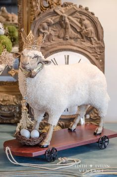 HUGE Sheep Statue Figure German Style Sheep Pull by edithandevelyn