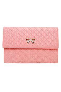 Bow-knot Plaited Pattern Shoulder Bag