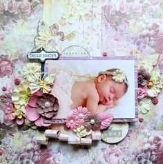 PRIMA: New 2015 Winter CHA - The Butterfly Collection. A beautiful dreamy layout by Keren (Prima Design Team) ~ Baby Layouts.