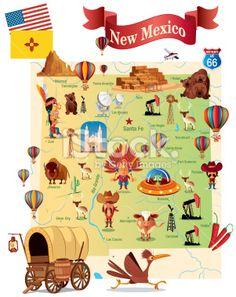 Cartoon Map Of USA Utah And Park - Cartoon us map