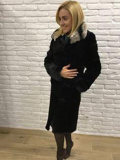 d0147474b703 Women Fur Coat, Real Fur Coat, Rabbit Fur Coat, Black, Fur Jacket,  chinchilla Collar Fur Coat, МЕХА,