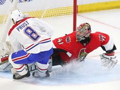 Jean Levac/The Ottawa Citizen April 22. Craig Anderson of the Ottawa Senators makes the great save on Brandon Prust of the Montreal Canadiens during second period action.