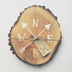 Rustic tree slice sign hand painted compass by TheHipsterHousewife (would be…
