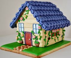 """I am pretty proud of my first ever cookie attempt. Below are the photos of """"Rambling Rose Cottage"""". I used this cookie cutter set from B. Christmas Gingerbread House, Gingerbread Cake, Christmas Cookies, Gingerbread Houses, Cookie Cottage, Cookie House, House Cake, Crazy Cookies, Cute Cookies"""