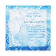 Blue Beach Sea Horse Summer Bridal Shower Invites