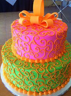 green pink bow cake ~ love love love!