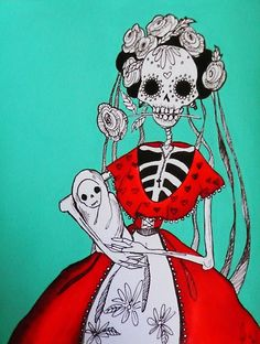 Día de los Muertos Mother and baby by 1Artistmind (Dia de los Muertos is close enough to Samhain to be here!)