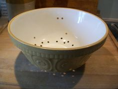 Such a classy way to drain your veg or spaghetti. . . . . . . Vintage  1920/30's Stoneware / Yellow ware / by lacroixdollon
