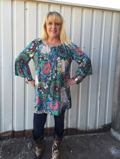 Plus size bell sleeve geo print tunic in beautiful spring colors! 92%POLYESTER 8%SPANDEX MADE IN USA 1X- 12-14  2X- 16-18 3X- 20-22 Classy Cowgirl Co- Gypsy C