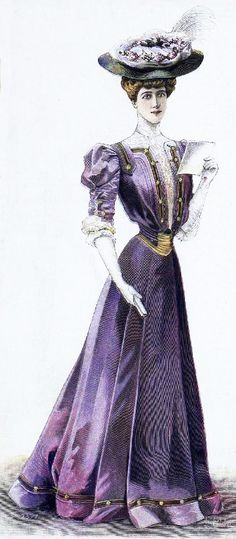 The Sum Of All Crafts: image collection-women (in purple) 1900s Fashion, Edwardian Fashion, Vintage Fashion, Vestidos Vintage, Vintage Dresses, Vintage Outfits, Mode Masculine, Historical Costume, Historical Clothing