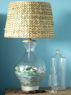 Beach Glass Lamps Filled -Bright Decorating Idea for Beachcombers