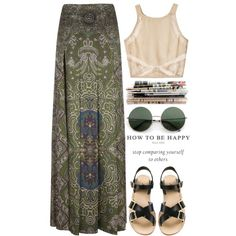 A fashion look from February 2013 featuring Shakuhachi tops, Yves Saint Laurent skirts and A.P.C. sandals. Browse and shop related looks.