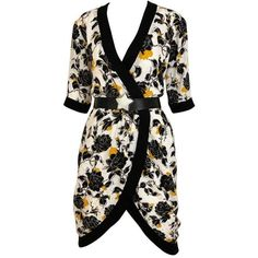 Preowned Vintage Saint Laurent Rive Gauche Black And Yellow Floral... ($1,250) ❤ liked on Polyvore featuring dresses, day dress, yellow, silk wrap dress, wrap dress, yellow dress, yellow summer dress and vintage dresses