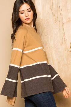 THML | Classic striped sweater great with a statement necklace and dark skinny jeans for an elegant fall outfit!