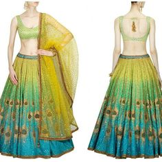 """64 Likes, 2 Comments - Couture Attire (@couture_attire) on Instagram: """"This set features a raw silk blue and green shaded flared lehenga in raw silk base crafted with…"""""""