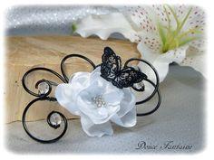 Attache-traine fil aluminium noir et blanc papillon dentelle fleur en satin fait-main http://www.doucefantaisie.com/