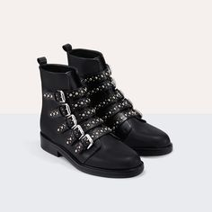 ecd5ff258 Leather ankle boots with studs : Shoes color Black 210 Botines De Cuero,  Chica Urbana