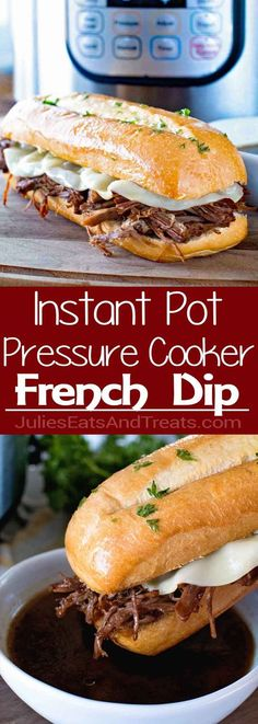 {Instant Pot} Pressure Cooker French Dip Sandwich ~ Delicious, Tender Beef Cooked in Your Pressure Cooker and Turned Into the BEST French Dip Sandwiches! Easy Weeknight Dinner Recipe for Your Instant Pot! via dinner instant pot Instant Pot French Dip Slow Cooker Recipes, Crockpot Recipes, Healthy Recipes, Kid Recipes, Wrap Recipes, Sandwich Recipes, Healthy Pressure Cooker Recipes, Hamburger Recipes, Cookie Recipes