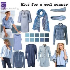 Blauw voor het koele zomertype. Blue for a cool summer color type by roorda on Polyvore featuring Mode, A.P.C., Le Silla and Bindya