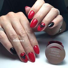 Самый красивый красный Options Classic Red❤️ Аппаратный маникюр , укрепление ногтевой пластины базой Luxio, красный Options Classic Red и чёрный Luxio Noir, инкрустация стразами Swarovski #маникюр #nails_korobova