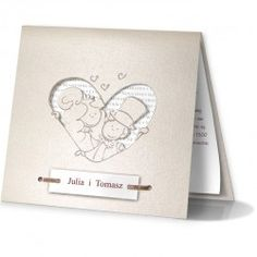 The cover is made from white pearl paper, it has a heart shape cut out,  in which a picture of a bride and groom is visible. The insert is made from white metallic paper. The inside is attached to the cover with a ribbon with two additional inserts. Names can be printed on the first insert, which is placed on the cover.