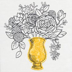Intricate lines create a bounding floral arrangement stemming from an applique vase. Cut your vase out of patterned fabric for an ultra chic look.