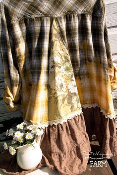 Khaki & Gold Ombre dyed Plaid Flannel Shirt - Tunic - Womens A Line - Boho Clothing - Womens Upcycled - Vintage Floral Bark Cloth OOAK - Khaki & Gold Ombre dyed Plaid Flannel Shirt Tunic Womens Upcycled Vintage, Vintage Floral, Upcycled Crafts, Sewing Crafts, Sewing Projects, Plaid Flannel, Flannel Shirts, Flannels, Bleach Shirts