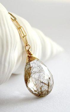 Rutilated Quartz Gold Pendant.
