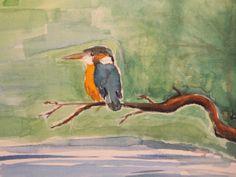 IJsvogel, kingfisher, alcedo atthis, vogel, bird, ecoline, analoog, illustratie