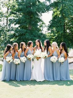 Classic bridesmaids dresses with blue color palette Mod Wedding, Wedding Bells, White Floral Centerpieces, Bridesmaid Dresses, Wedding Dresses, Bridesmaids, Georgia Wedding, Allure Bridal, Groom And Groomsmen