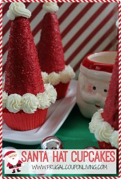 Santa Hat Cupcakes - Use an ice cream cone in this fun Christmas Food Craft for the Kids. Details and Tutorial on Frugal Coupon Living.
