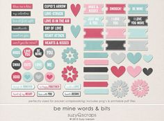 Valentines Day. Flat elements & word strips, for pocket & digital scrapbookers. By SuzyQ Scraps. Printable! Great for pocket scrapbooking & project life. Coordinating kit, pocket cards, & glitter papers also available.