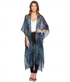 BCBGeneration - Noir Lace Duster (Blue Graphite) Women's Clothing