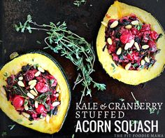 Meatless Monday: Kale & Cranberry Stuffed Acorn Squash {gluten free, vegan, Thanksgiving recipe, meatless dinner dish, healthy, vegetarian}