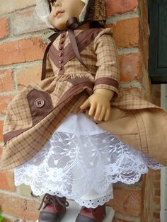 """18"""" Doll Clothes Historical Civil War Gown and Bonnet Fits American Girl Marie Grace, Cecile, Addy"""