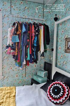 Storage And Organization , Good Storage Ideas For Small Spaces : Storage Ideas For Small Spaces Hanging Clothes Rack Closet Minimalista, Bedroom Hacks, Bedroom Ideas, Bedroom Decor, Bedroom Designs, Kids Bedroom, Diy Casa, Hanging Clothes, Clothes Rod