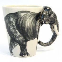 Elephant Ceramic Mug Safari Animals Handmade Coffee Cup $55