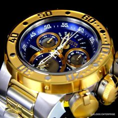 Invicta Reserve Subaqua Sea Dragon Swiss Movt Two Tone Steel Blue Watch New Stylish Watches, Luxury Watches For Men, Cool Watches, Sport Watches, Relogio Invicta Pro Diver, Most Beautiful Watches, Breitling Chronomat, Expensive Watches, Fashion Watches