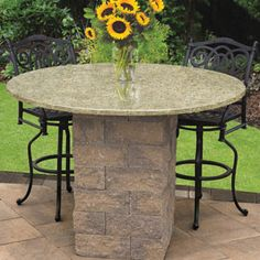 Maytrx Wall Round Patio Pub & Bistro Table Kit available in Renaissance & Split Face Finish as well as 2 granite color options