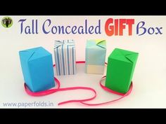 """Origami Tutorial to make a paper """"Concealed Tall Gift Box"""" using single A4 sheet. - YouTube"""