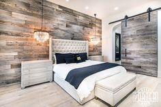 PBW: Tobacco Barn Grey Wood Wall - Master Bedroom