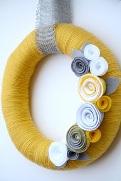 14 Yellow yarn wreath with gray and white felt by 36thandmain, $42.00