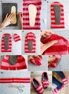 Sweater Slippers DIY Super Easy Video Instructions Pullover Hausschuhe DIY Wie Upcycle Old Jumpers Sewing Hacks, Sewing Tutorials, Sewing Crafts, Sewing Projects, Sewing Patterns, Diy Projects, Sweater Mittens, Old Sweater, Knitting Sweaters