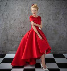 Asymmetrical Short Sleeve Satin Ball Gown Evening Dress - Uniqistic.com