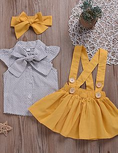 Baby Girls' Active Daily Polka Dot Lace up Short Sleeve Regular Cotton / Polyest.-- Baby Girls' Active Daily Polka Dot Lace up Short Sleeve Regular Cotton / Polyester Clothing Set Yellow Frocks For Girls, Little Girl Outfits, Toddler Girl Outfits, Little Girl Dresses, Kids Outfits, Girls Dresses, Little Girl Clothing, Toddler Girls, Baby Girl Fashion