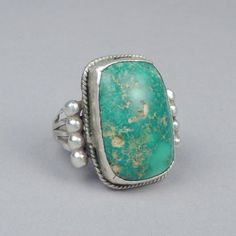 Silver ring with large turquoise stone c. 1950's