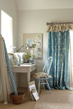 Creating a beautiful office space in your home with Vanessa Arbuthnott ~ My Unique Home Curtains With Blinds, Cottage Curtains, Beautiful Office Spaces, Home, Vanessa Arbuthnott, Beautiful Office, Made To Measure Curtains, Curtain Styles, Curtain Designs